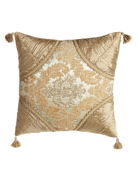 "Florentine Brocade Pillow with Silk Dupioni Corners, 20""Sq."