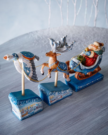 Santa on Sleigh with Deer and Goose