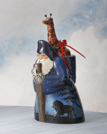 Safari Santa with Giraffe Figure