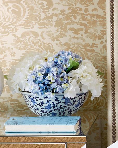 Blue & White Hydrangea Faux-Floral Arrangement