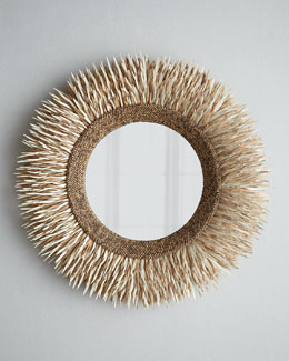 Round Coconut Shell Mirror