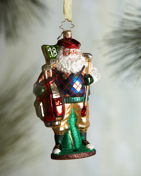 Fore! The Holidays Golf Santa Christmas Ornament