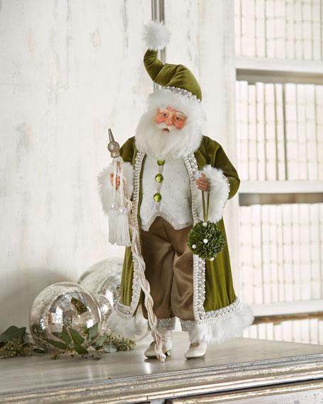 Santa With Apple Green Jacket