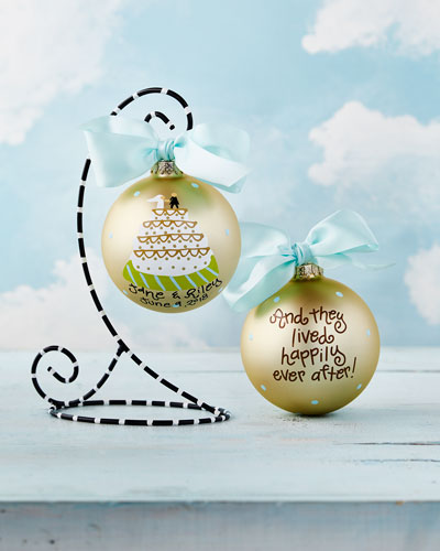 Personalized Wedding Cake Christmas Ornament with Black Stand