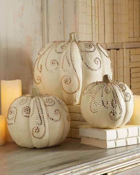 Three Jeweled Ivory Pumpkins