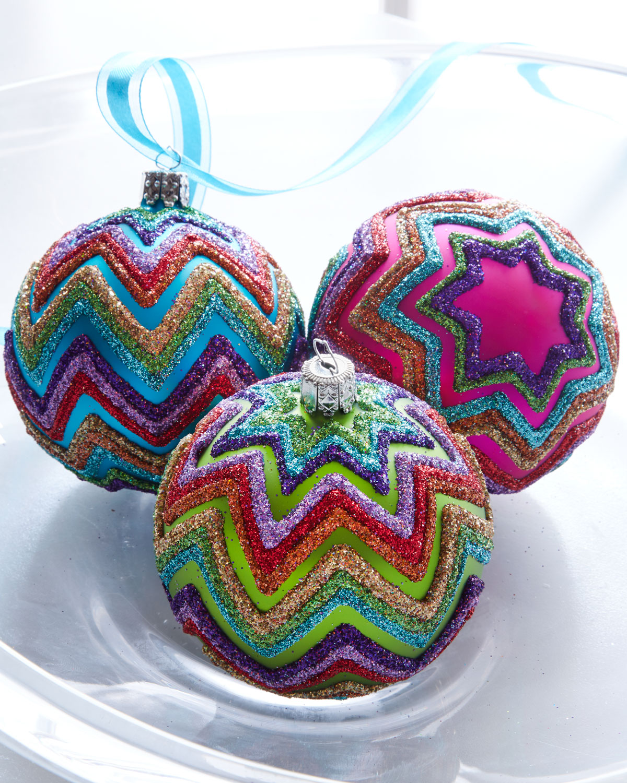Three Chevron Ball Ornaments