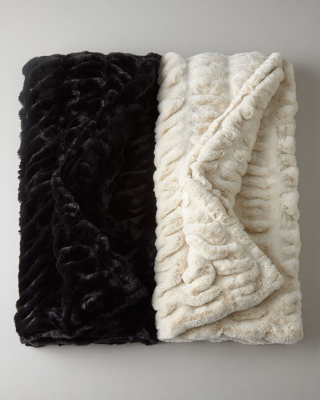 Black Ruched Faux-Mink Throw