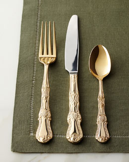 NM EXCLUSIVE 90-Piece Gold-Plated Margaux Flatware Service