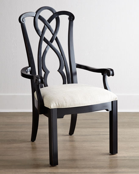Two Marcella Black Splat-Back Armchairs