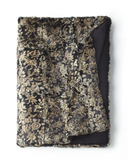 "Adrienne Landau Brocade-Print Rabbit Throw, 72"" x 52"""
