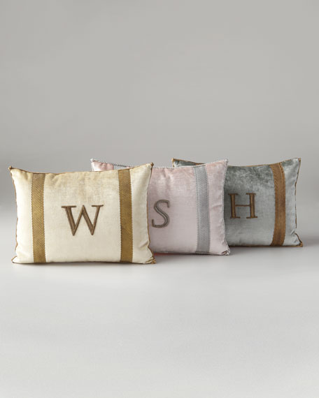 Antique-Trim Monogrammed Pillow
