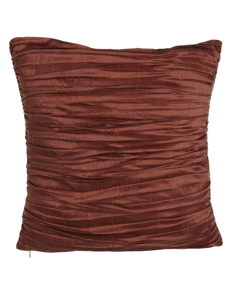 "Pleated Silk Pillow, 18""Sq."