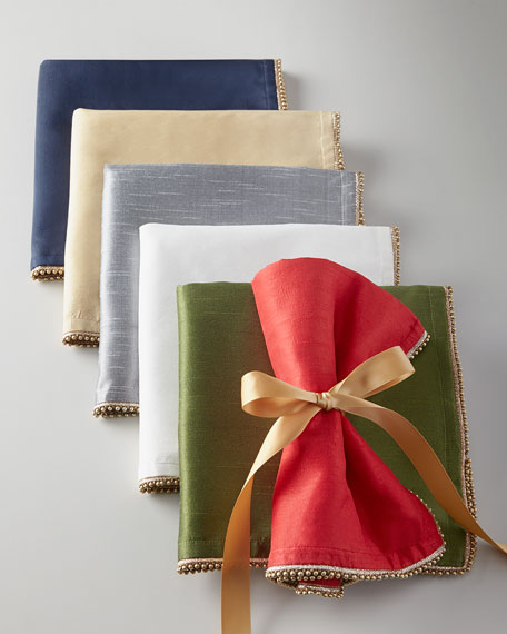 Four Bead-Trimmed Napkins