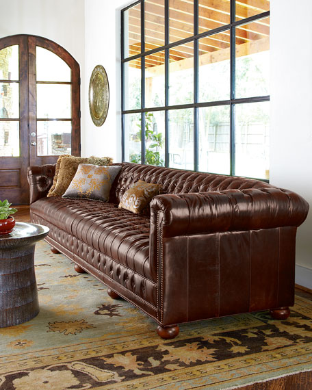 "Executive 76""L Chesterfield Sofa"