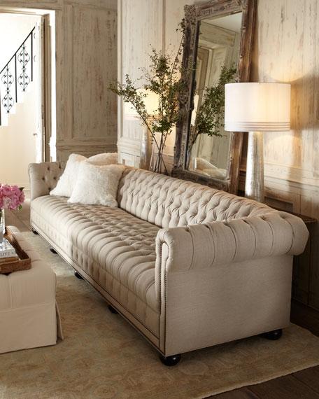 "Hudson Tufted-Linen Sofa, 93""L"