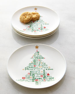 NM EXCLUSIVE Four Christmas Tree Party Plates