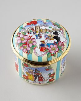 "Halcyon Days Enamels ""O' Come All Ye Faithful"" Music Box"
