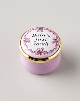 Halcyon Days Enamels Pink Baby's First Tooth Box