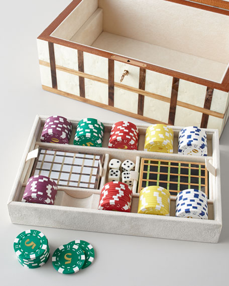 Game Box with Tray & Poker Set
