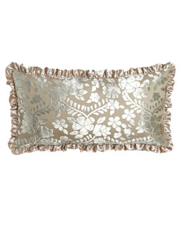 "French Laundry Home Burnout Velvet Pillow with 1"" Satin Ruffle, 12"" x 24"""