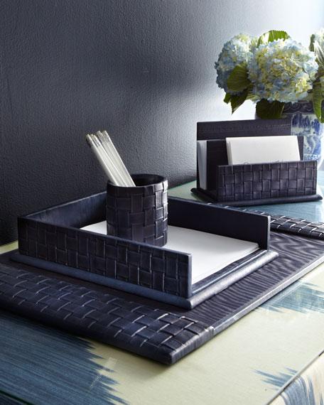 Unique Blue Woven Leather Desk Accessories RF56