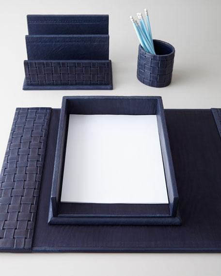 Attractive Blue Woven Leather Desk Accessories BA08