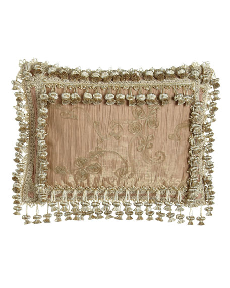 Alessandra Crushed Silk Pillow with Sheer Overlay &