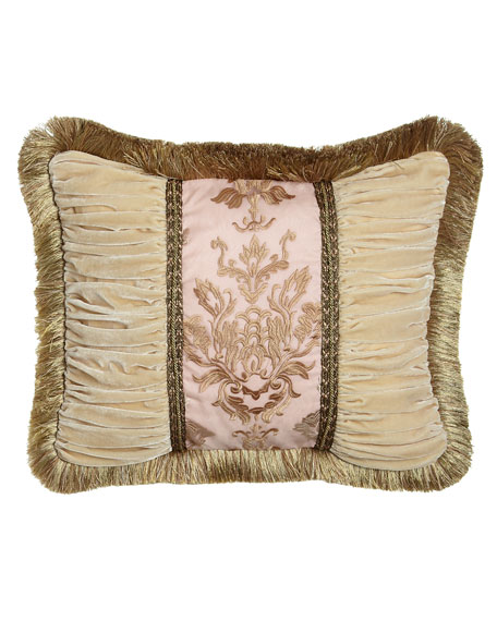 "Alessandra Pillow with Ruched Velvet Sides & Brush Fringe, 16"" x 21"""