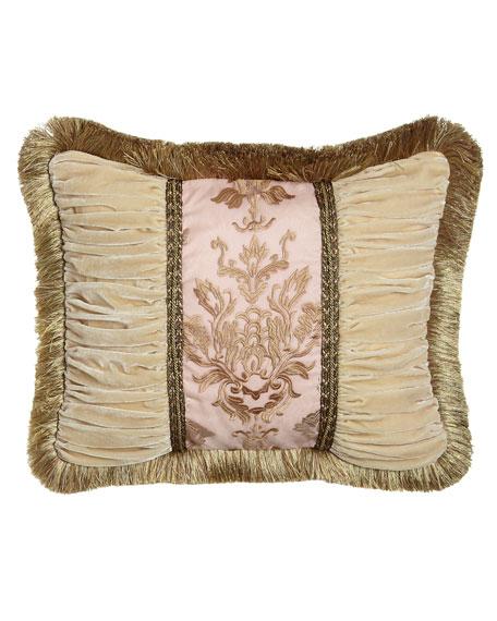 """Alessandra Pillow with Ruched Velvet Sides & Brush Fringe, 16"""" x 21"""""""