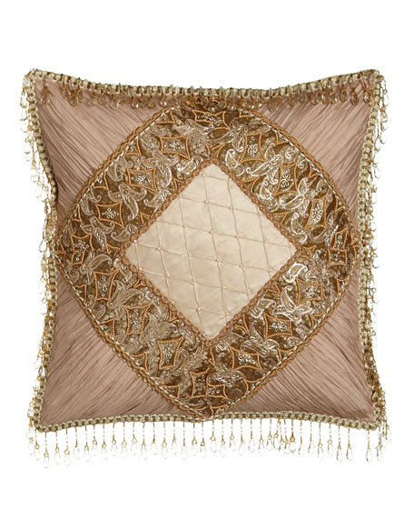 Alessandra Pillow with Shirred Silk Corners & Bead