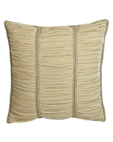 Alessandra Ruched Velvet European Sham with Gimp Trim