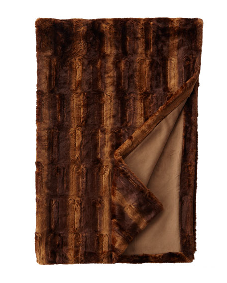 "Queen Faux-Beaver Throw, 54"" x 88"""