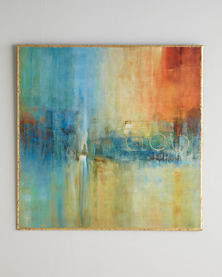 Blue Cascade Abstract Giclee on Canvas Wall Art