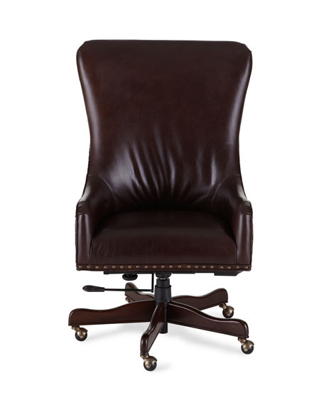 hooker furniture brindle & leather office chair