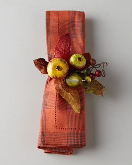 Deborah Rhodes Four Harvest Fruit Napkin Rings