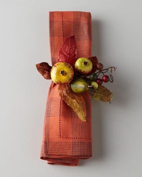 Four Harvest Fruit Napkin Rings