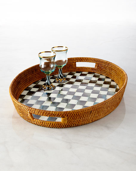 MacKenzie-Childs Courtly Check Rattan Party Tray