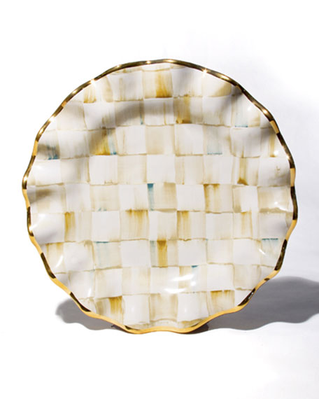 Parchment Check Dessert Plate