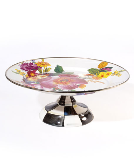 MacKenzie-Childs Small Flower Market Pedestal Platter