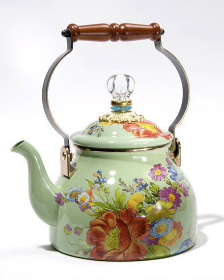 Flower Market Green Two Quart Tea Kettle