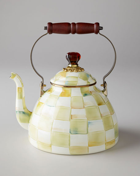 MacKenzie-Childs Parchment Check 2-Quart Tea Kettle