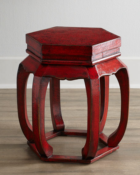 Antique Wooden Chinese Garden Seat with Open Base