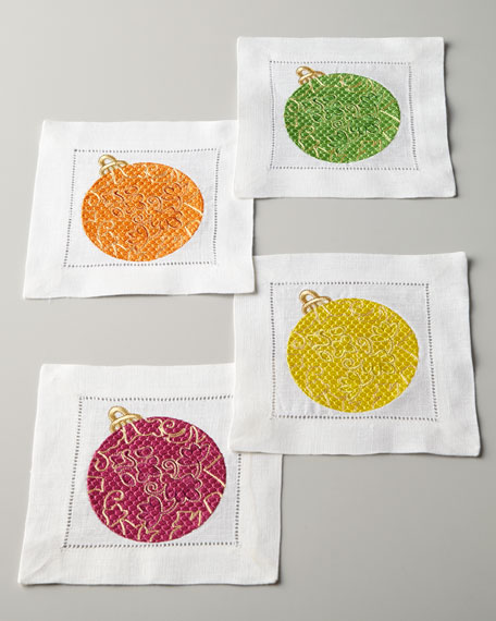 Four Embroidered Ornament Cocktail Napkins