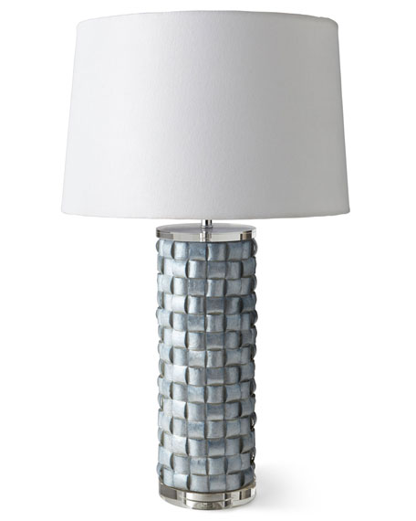 Basketweave Capiz Shell Lamp