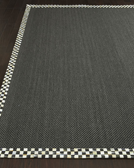 "Courtly Check Black Sisal Runner, 2'5"" x 9'"