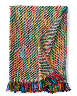 "Multicolored Throw w/ Pom-Pom Fringe, 50"" x 60"""