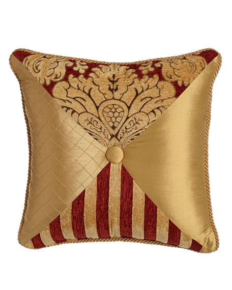 Bellissimo Square Pieced Pillow with Button & Cording