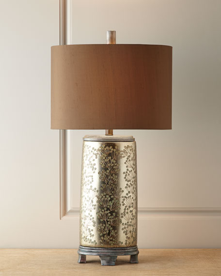 Silvery Chinoiserie Lamp