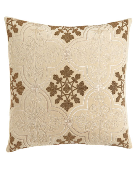 "Como Beaded Velvet Pillow, 22""Sq."
