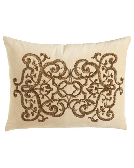 "Como Sequined Velvet Pillow, 20"" x 26"""